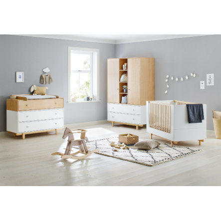 Pinolino Lit enfant évolutif, commode, armoire 2 portes Boks blanc/naturel