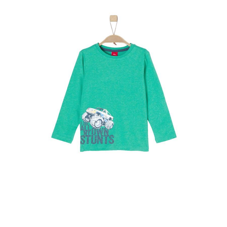 s. Oliver Poikien pitkähihainen paita vihreä melange