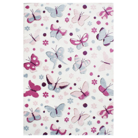 LIVONE Spiel- und Kinderteppich Happy Rugs - Schmetterling, pastell multi, 120 x180 cm