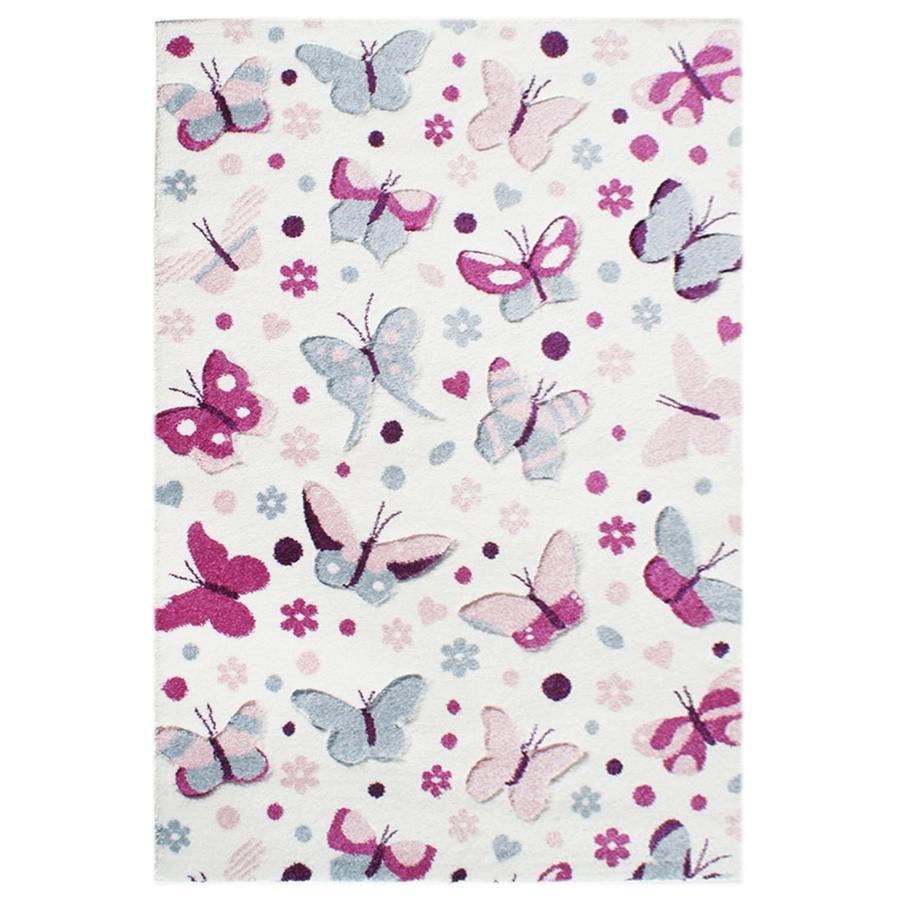 LIVONE Spiel- und Kinderteppich Happy Rugs Schmetterling pastell rosa, 120 x 180 cm