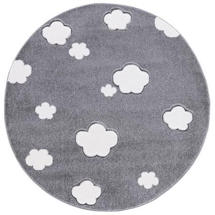 LIVONE Love Rugs jeu et tapis pour enfants - On cloud 7, Ronde gris argenté 133 cm