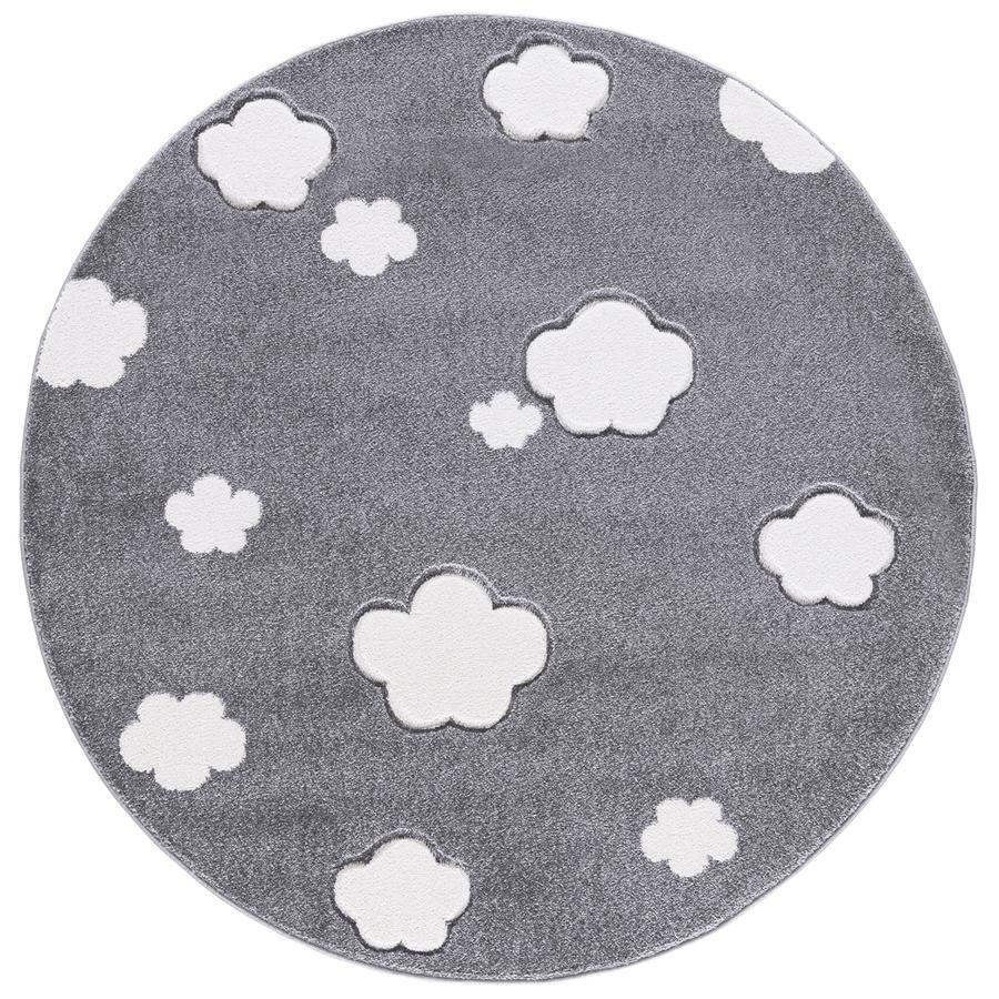 LIVONE Tæppe Love Rugs - Skyer, Rund sølvgrå 133 cm
