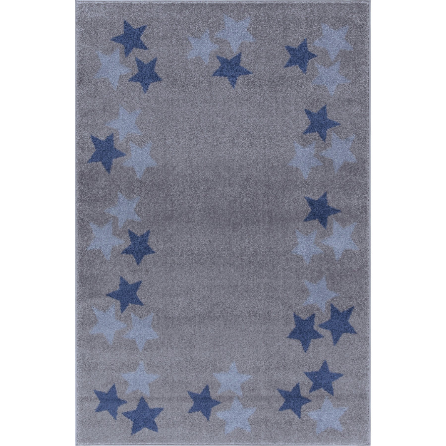 livone spiel und kinderteppich happy rugs borderstar silbergrau blau 160 x 230 cm. Black Bedroom Furniture Sets. Home Design Ideas