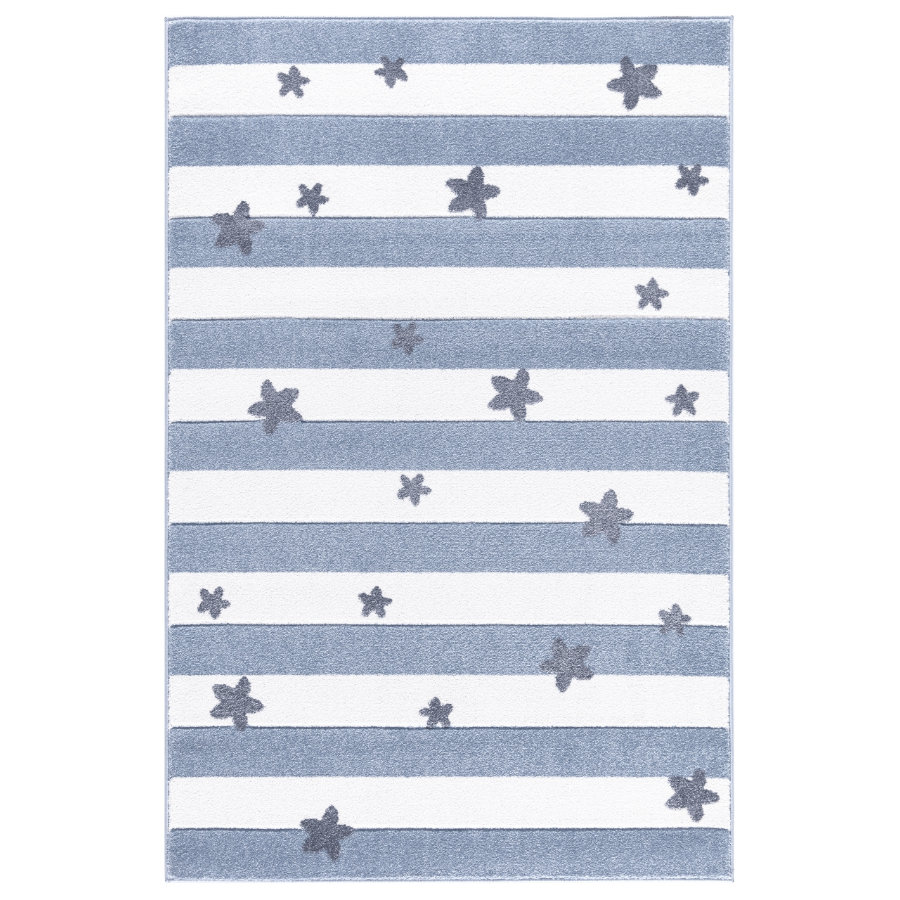livone spiel und kinderteppich happy rugs stars stripes blau 160 x 230 cm. Black Bedroom Furniture Sets. Home Design Ideas