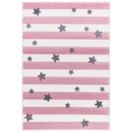 LIVONE Gulvtæppe Happy Rugs Stars Stripes lyserød 160 x 230 cm
