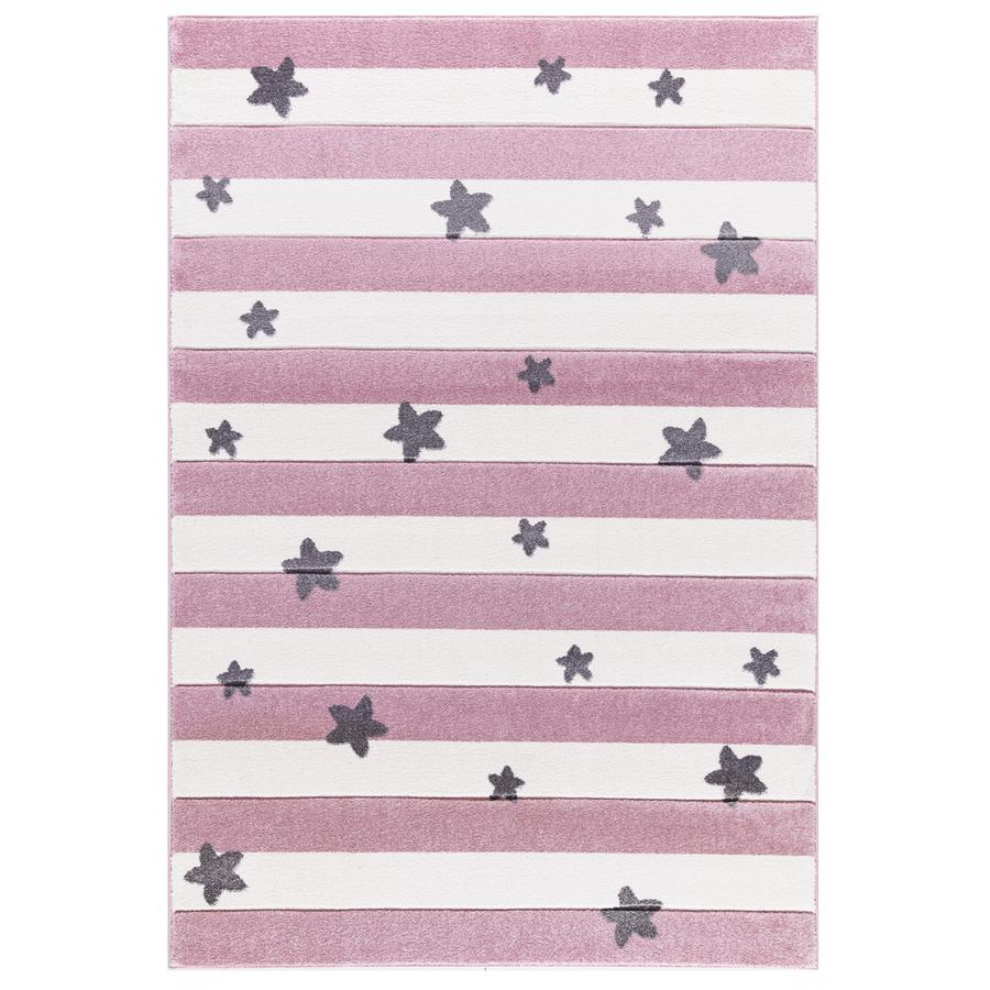 LIVONE Barnmatta Happy Rugs Stars Stripes, rosa 160 x 230 cm