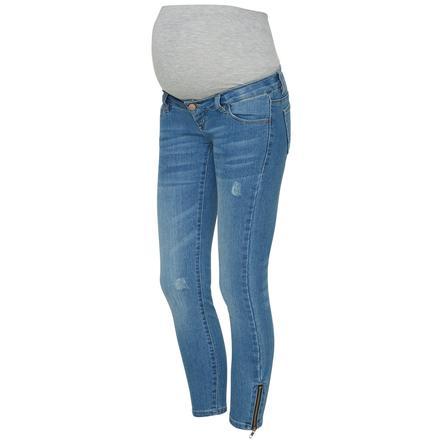 mama licious Spodnie ciążowe 7/8 MLRIGA Light Blue Denim
