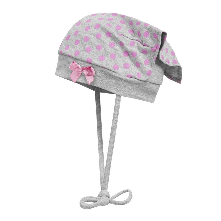Döll Kopftuchmütze zum Binden, grau mit rosa Punkten