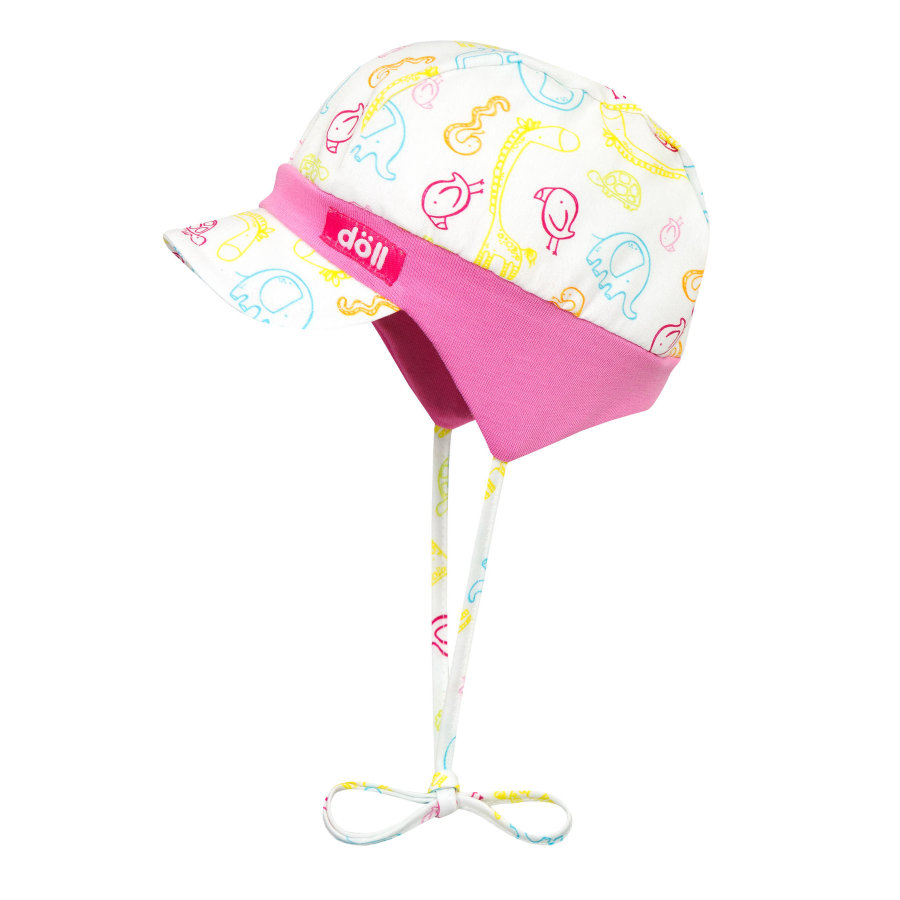 Döll Girls Bindemütze mit Schirm, bunte Tiere