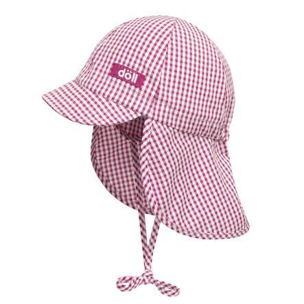 Döll Girl s Czapka wiązałkowa z osłoną na szyję, różowa w kratkę