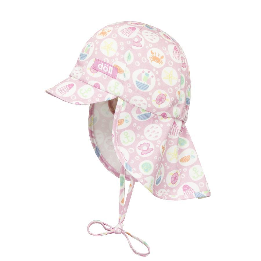 Döll Girls Bindemütze mit Schirm, Strand rosa