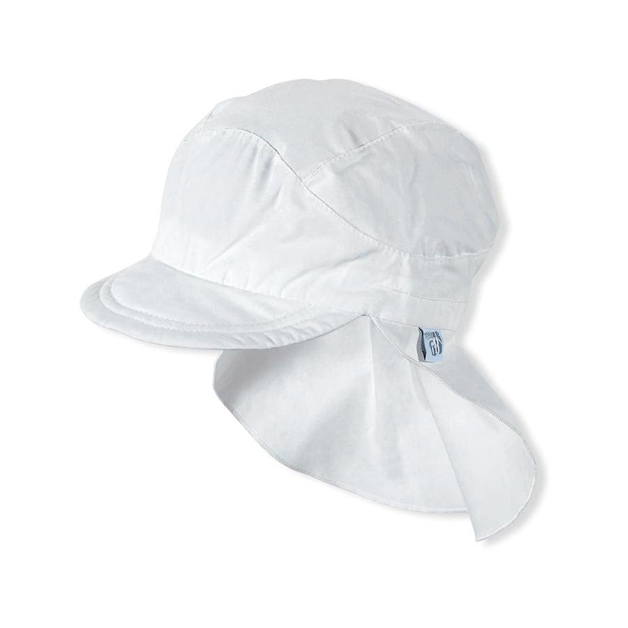 Sterntaler Girl czapka szczytowa z osłoną na szyję w kolorze białym