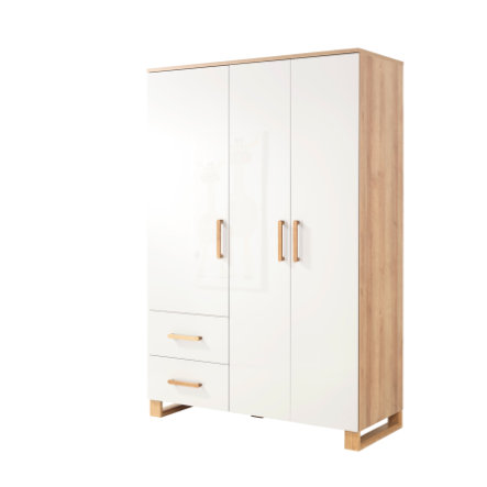 WELLEMÖBEL Kleiderschrank Benno Riviera Eiche / weiß 3-türig