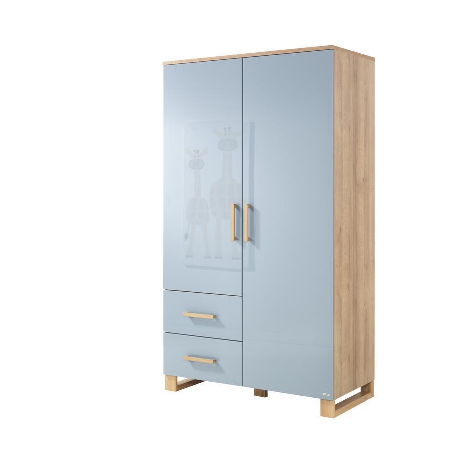 WELLEMÖBEL Kleiderschrank Benno Riviera Eiche / Pacific blau  2-türig