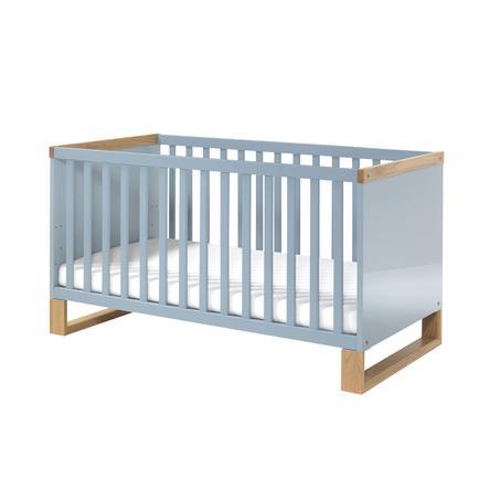 WELLEMÖBEL Kinderbett Benno Riviera Eiche / Pacific blau Kufen ...