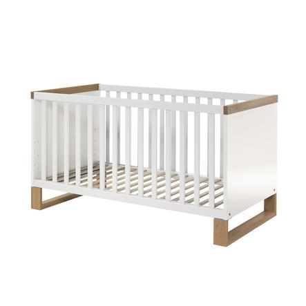 WELLEMÖBEL Kinderbett Benno Riviera Eiche / weiß Kufen