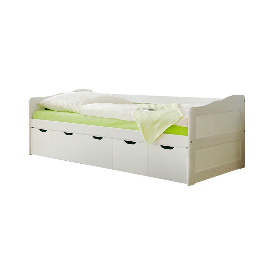 TiCAA Lit enfant avec tiroirs de rangement Maria blanc 90x200 cm