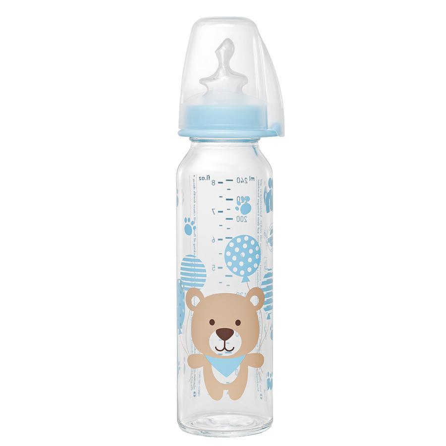 nip Babyflasche mit Trinksauger blau aus Silikon Gr. 1 250ml Jungen für Milch Bär