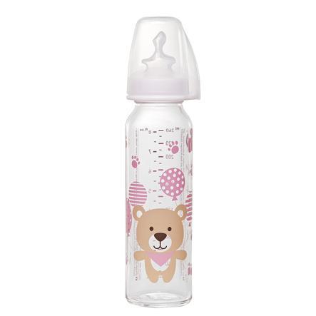 NIP Babyflaske af glas med flaskesut af silikone str.1 250ml til mælk Lyserød Bjørn