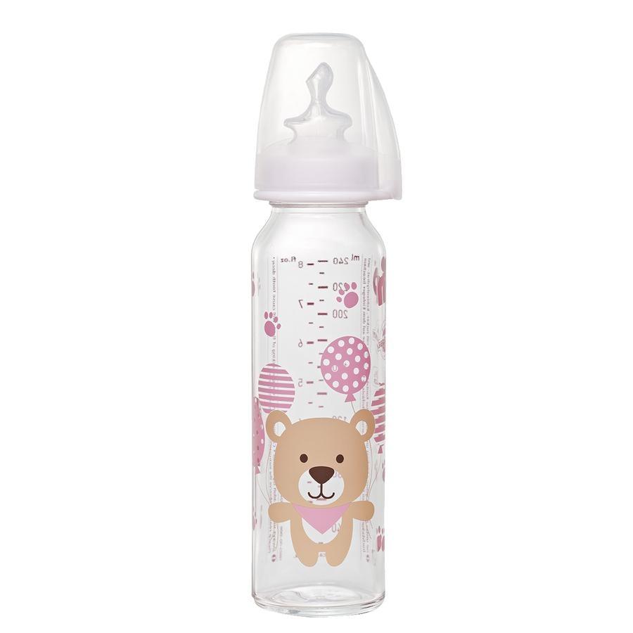 NIP Babyflasche aus Glas mit Trinksauger aus Silikon Gr.1 250ml Mädchen für Milch Bär rosa