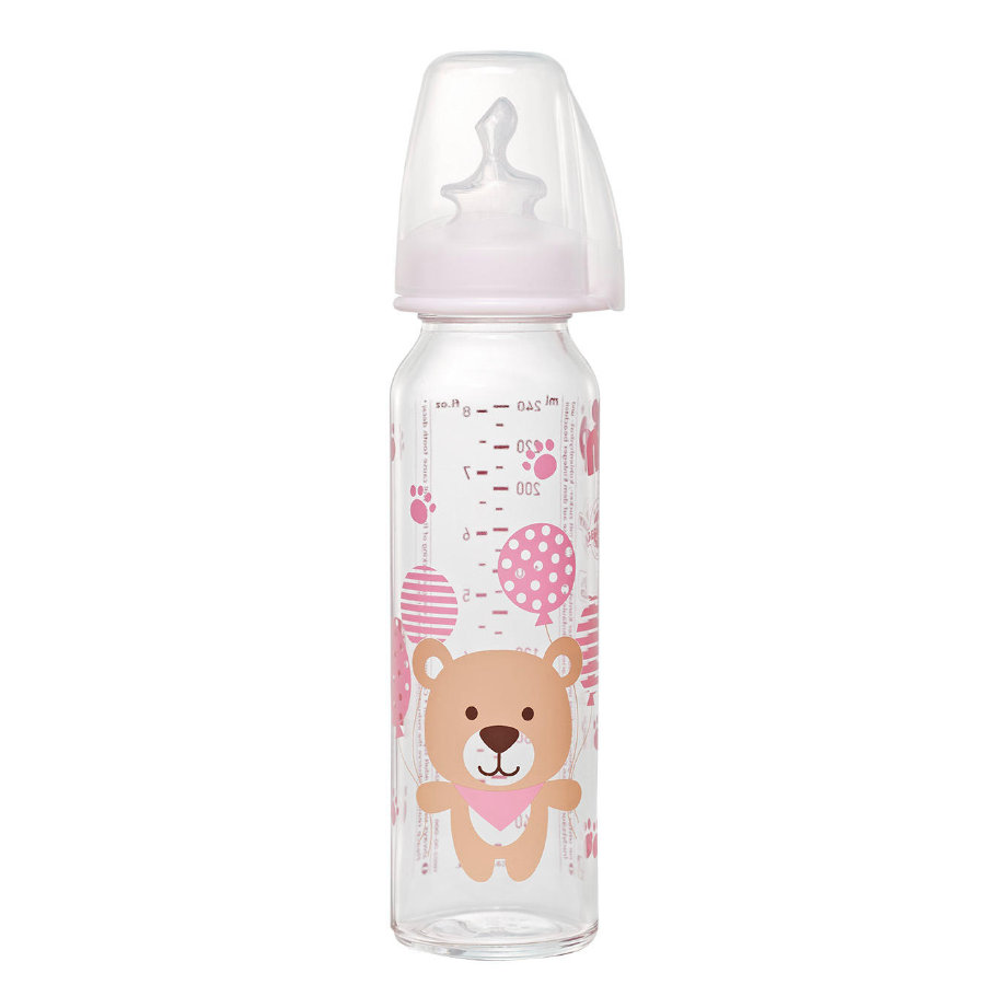 nip Babyflaske med spenrosa størrelse 1 250ml jente til melkebjørneglass / silikon