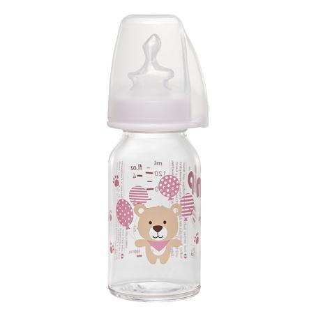 NIP Babyflaske af glas med flaskesut af silikone str.1 125ml til te lyserød bjørn
