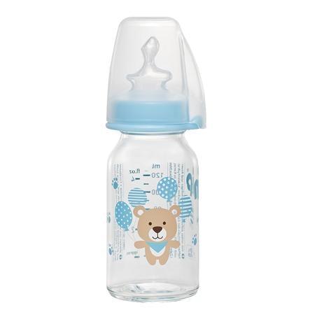nip Babyflasche mit Trinksauger blau Gr. 1 125ml Jungen für Tee Bär aus Glas / Silikon