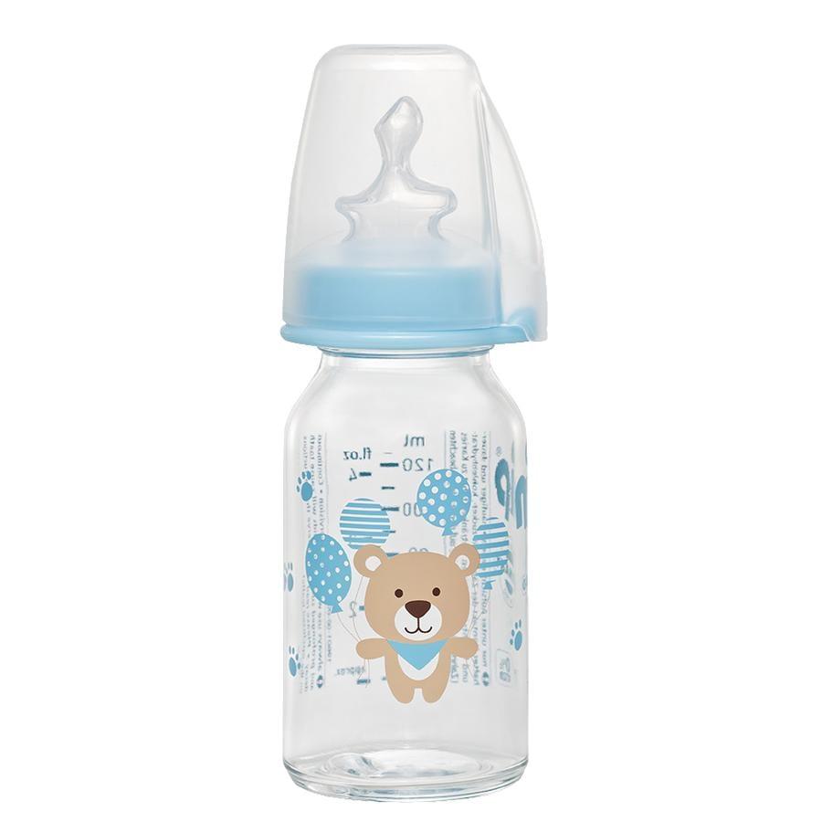 NIP Babyflaske af glas med flaskesut af silikone str.1 125ml til te Blå Bjørn