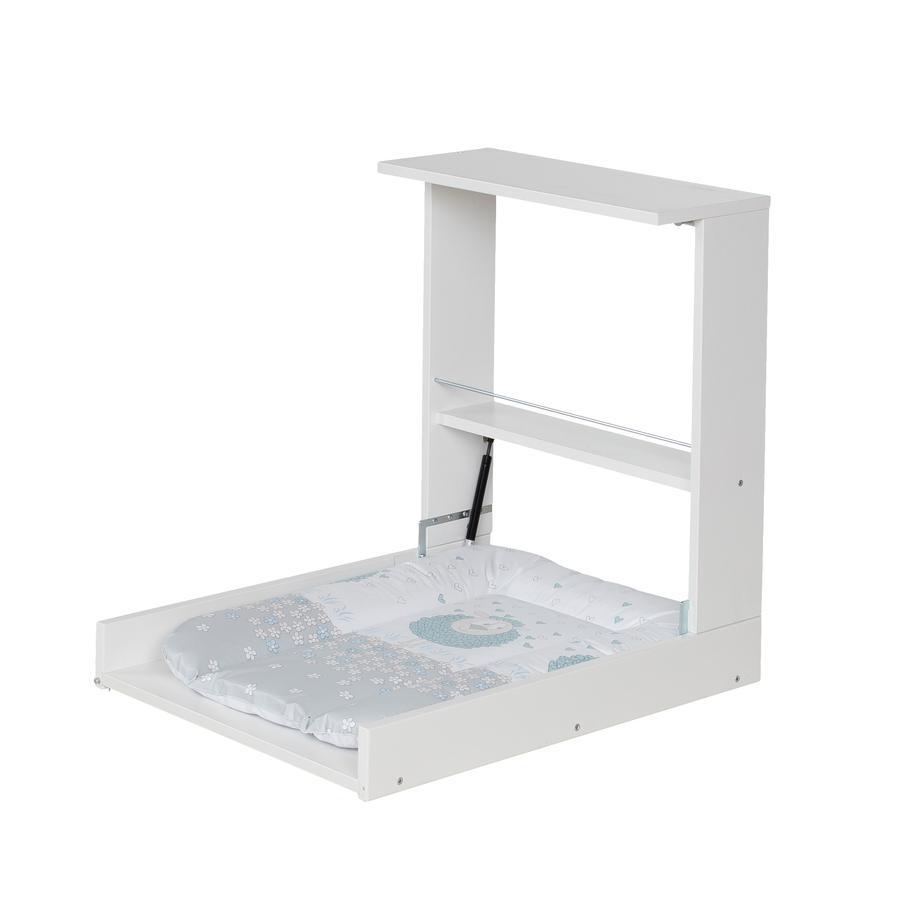 Geuther Wicki Seinään kiinnitettävä hoitopöytä, valkoinen, 009 lammas