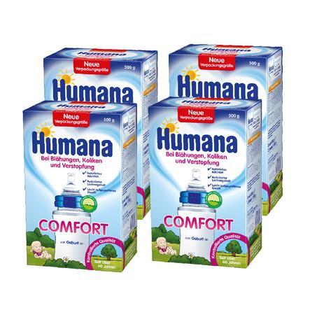 Humana Spezialnahrung Comfort 4 x 500 g bei Blähungen Koliken und Verstopfung von Geburt an