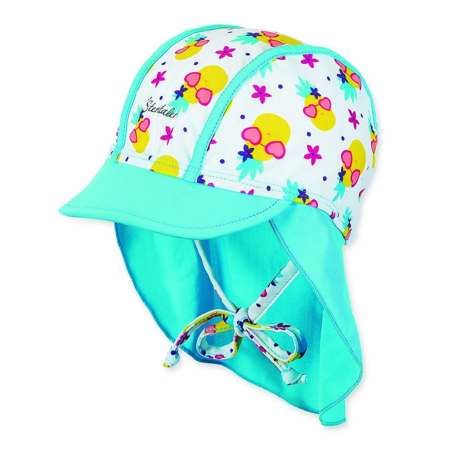 Sterntaler Girls Binde-Schirmmütze mit Nackenschutz weiß