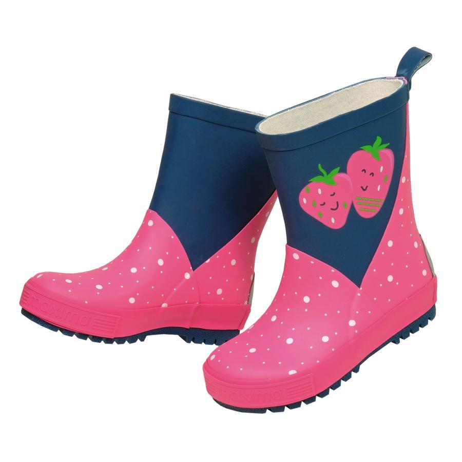 maximo Girl s Buty gumowe Małe kropeczki marynarki wojennej/różowe