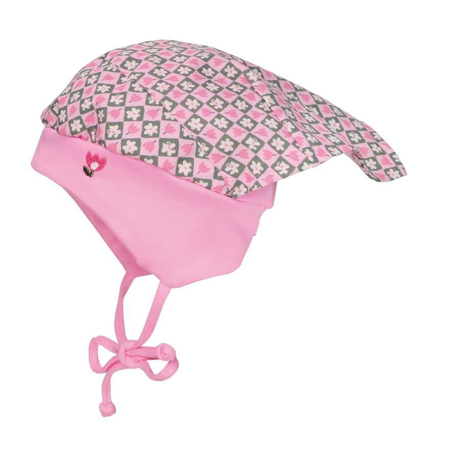 maximo Girl flores de la gorra del pañuelo de la cabeza del niño rosa-melange-blanco