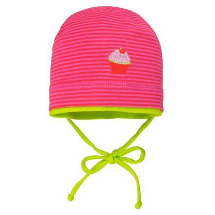 maximo Girls Mütze Ringel rot- pink-jasmingrün
