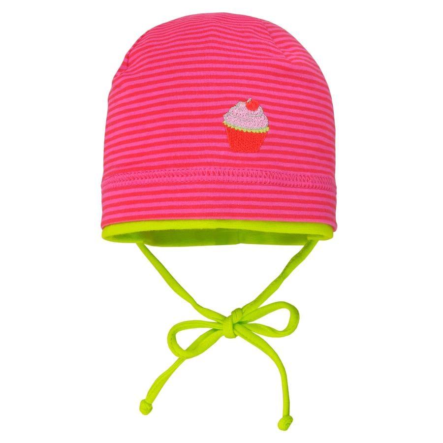 maximo Girls Mütze Ringel rot-sexy pink-jasmingrün