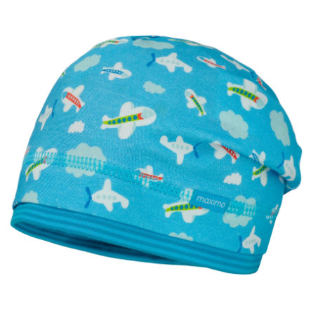 maximo Boys Beanie Flugzeuge opal-weiss