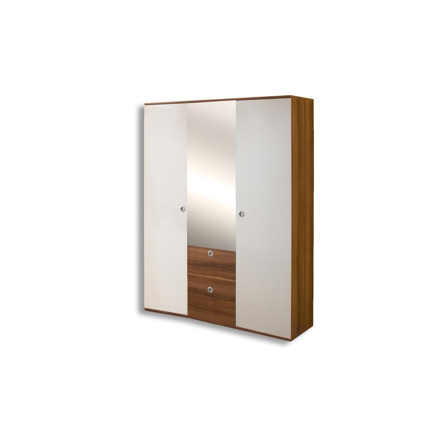 ticaa kleiderschrank milu 2 t rig walnuss wei. Black Bedroom Furniture Sets. Home Design Ideas