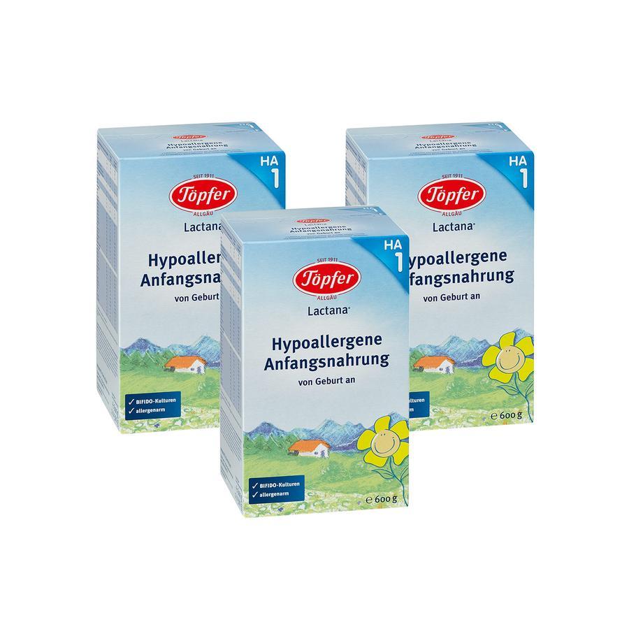 TÖPFER Lactana Hypoallergenic 1 Infant Formula 3x600g