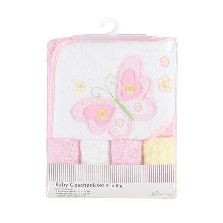 Ensemble cape de bain gant toilette enfant rose 5 pièces