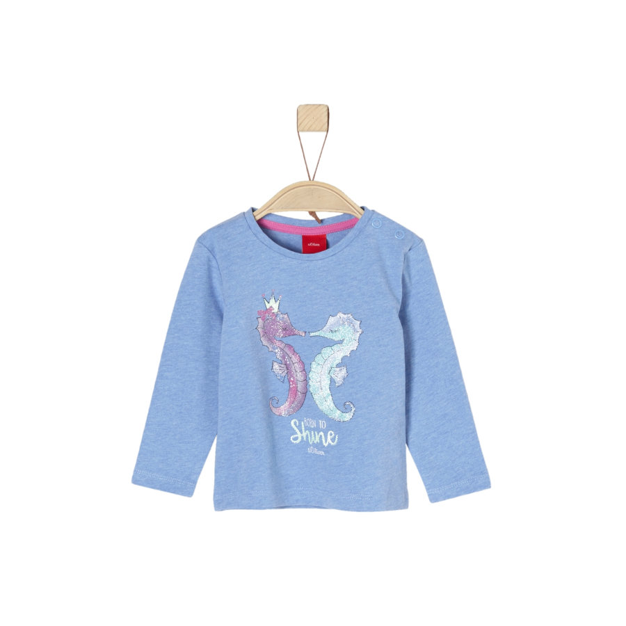 s.Oliver Girl s camisa de manga larga azul claro melange
