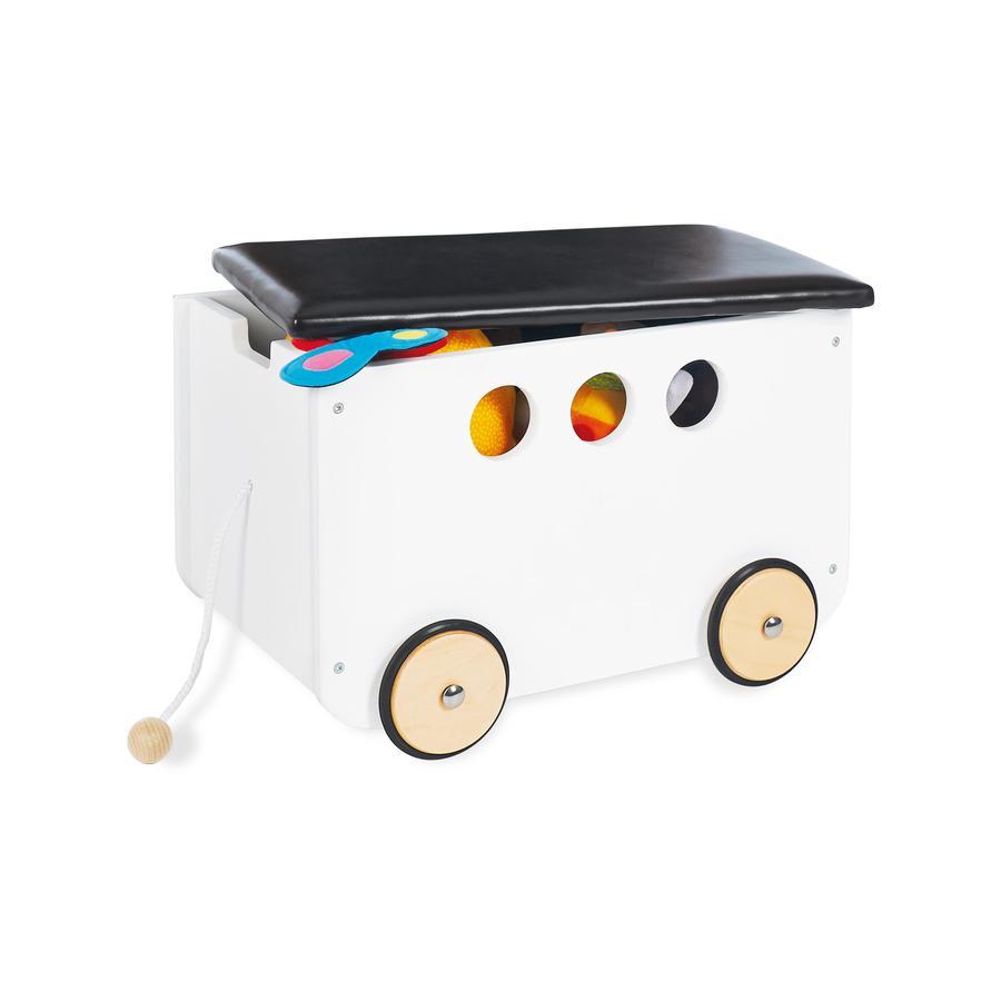 Pinolino Coffre à jouets à roulettes Jim bois blanc