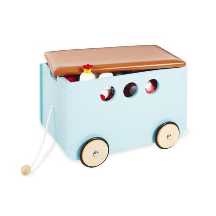Pinolino Coffre à jouets à roulettes Jim, bleu menthe