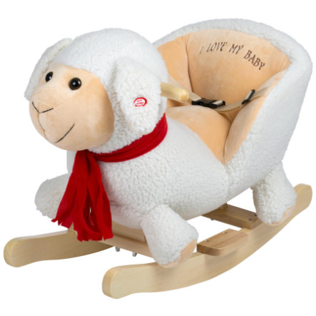 babyGO Mouton à bascule blanc, bois