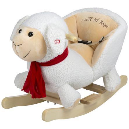 Mouton à bascule blanc, bois