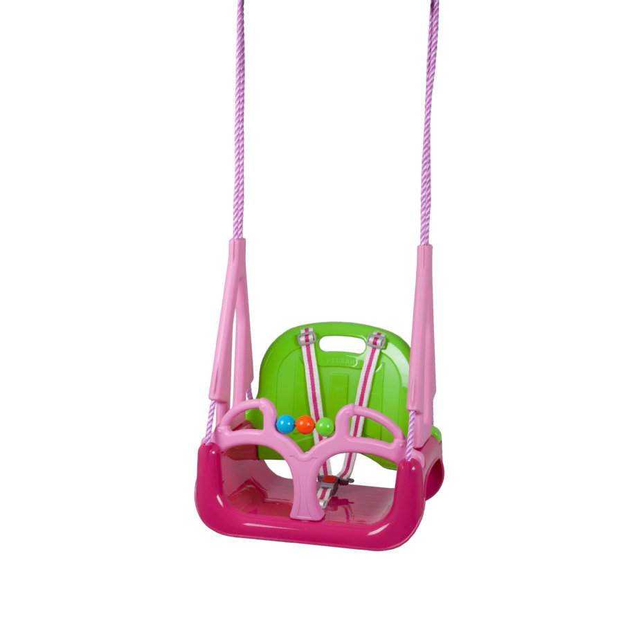 babyGO Balançoire enfant DoReMi, rose/vert