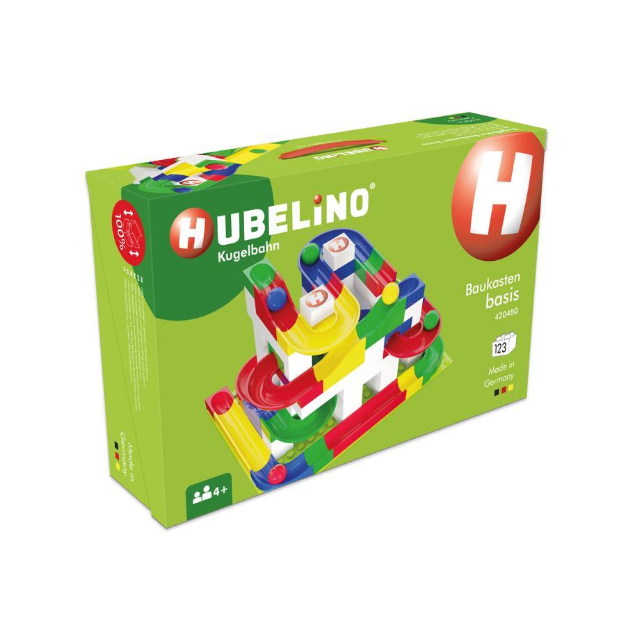HUBELINO® Circuit à billes de base, briques, 123 pièces