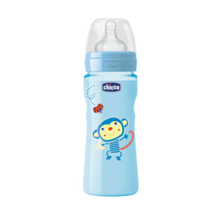 CHICCO Welzijn babyflesje Colored 250ml 4m+ siliconen Boy