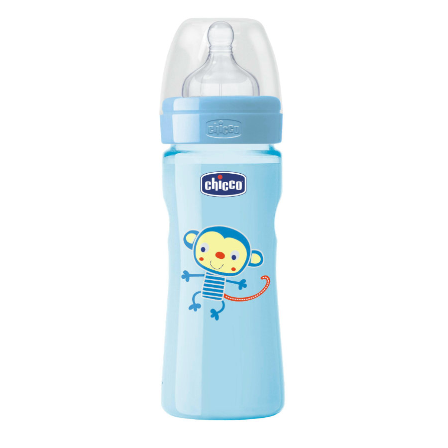 CHICCO Welzijn babyflesje Colored 250ml 2m+ siliconen Boy