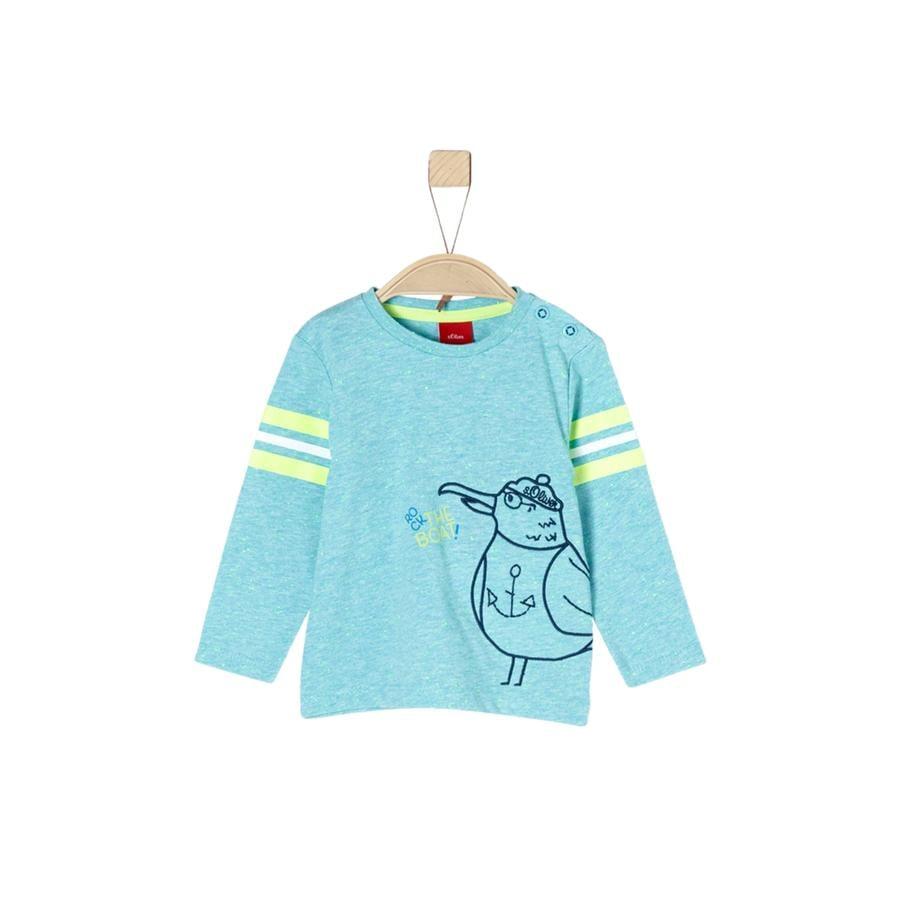 s.Oliver Boys Shirt met lange mouwen blauwgroene melange