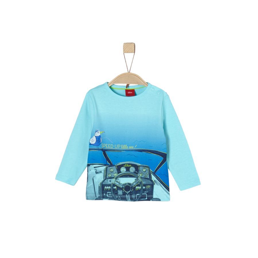 s. Olive r Chlapecké tričko s dlouhým rukávem tyrkysové